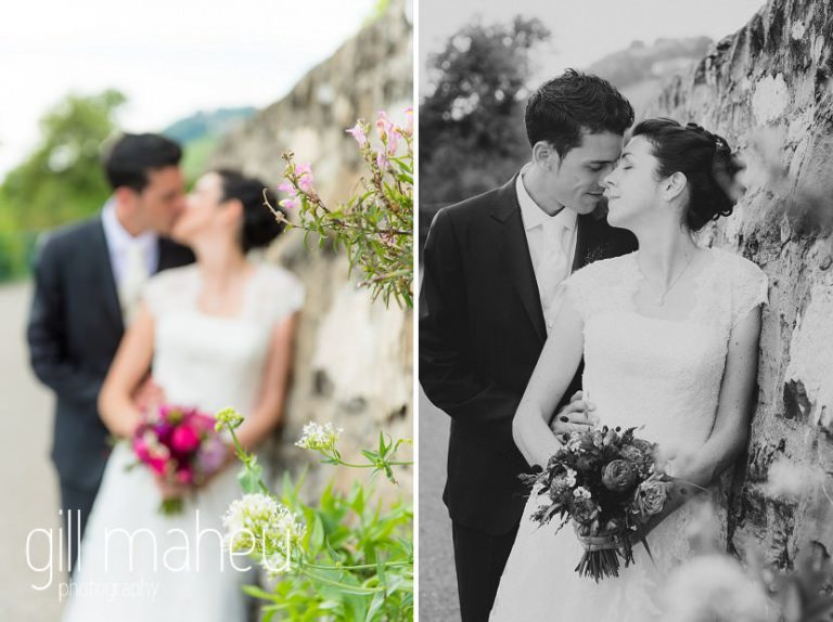 bride and groom kissing in the vineyards in Chateau de Glérolles, Lausanne, Lake Geneva wedding by Gill Maheu Photography, photographe de mariage