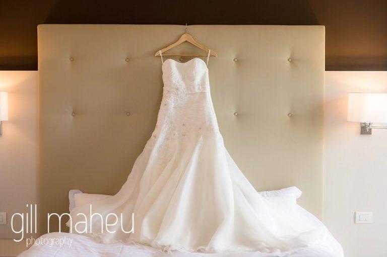 stunning white sil mousseline wedding dress at St Saphorin, Lake Geneva wedding by Gill Maheu Photography, photographe de mariage
