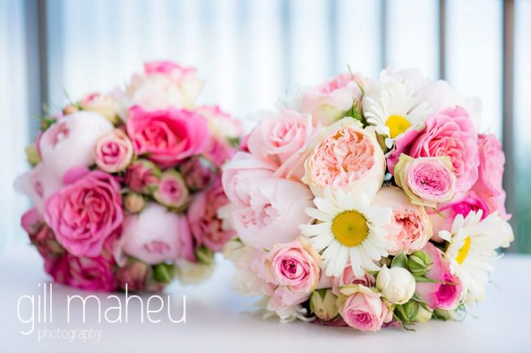wedding details of bride's and bridesmaids bouquets at St Saphorin, Lake Geneva wedding by Gill Maheu Photography, photographe de mariage