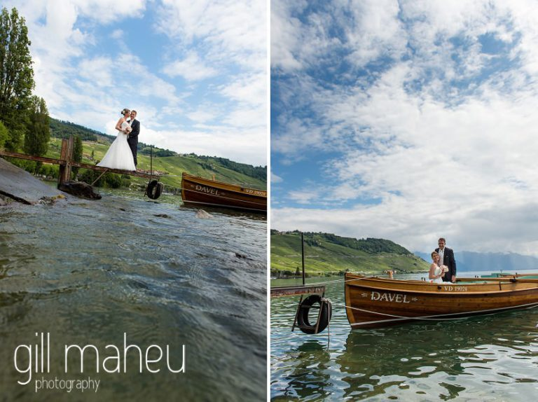 bride and groom on boat on Lac Léman before St Saphorin, Lake Geneva wedding by Gill Maheu Photography, photographe de mariage