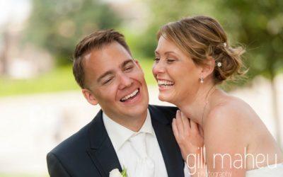 close up of bride and groom laughing together at St Saphorin, Lake Geneva wedding by Gill Maheu Photography, photographe de mariage