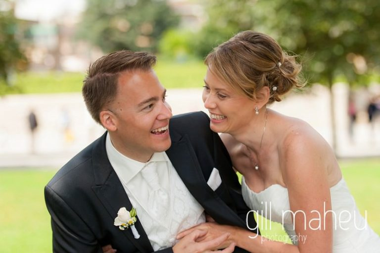bride and groom laughing together at St Saphorin, Lake Geneva wedding by Gill Maheu Photography, photographe de mariage