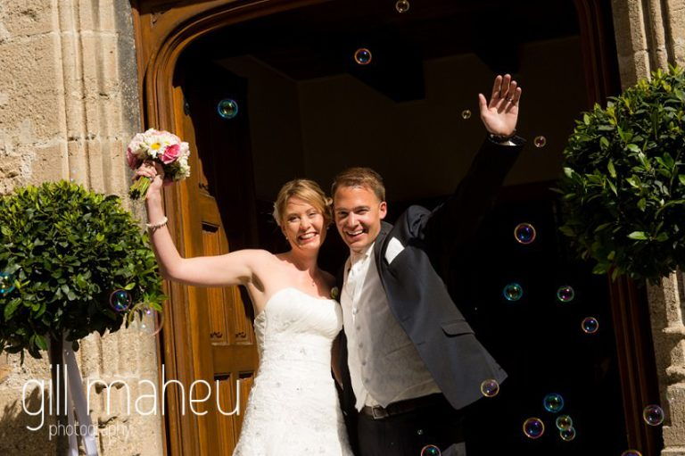 bride and groom leaving the church at St Saphorin, Lake Geneva wedding by Gill Maheu Photography, photographe de mariage