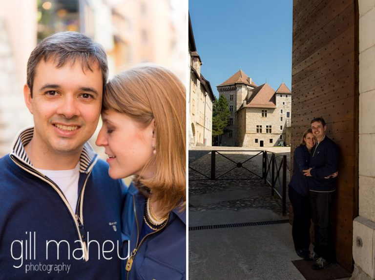 close up and wide angle portrait of young couple on stone steps in lifestyle photo session in the Vielle Ville of Annecy by Gill Maheu Photography, photographe de mariage et de famille