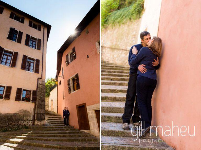 couple kissing on the steps of a street in lifestyle photo session in the Vielle Ville of Annecy by Gill Maheu Photography, photographe de mariage et de famille