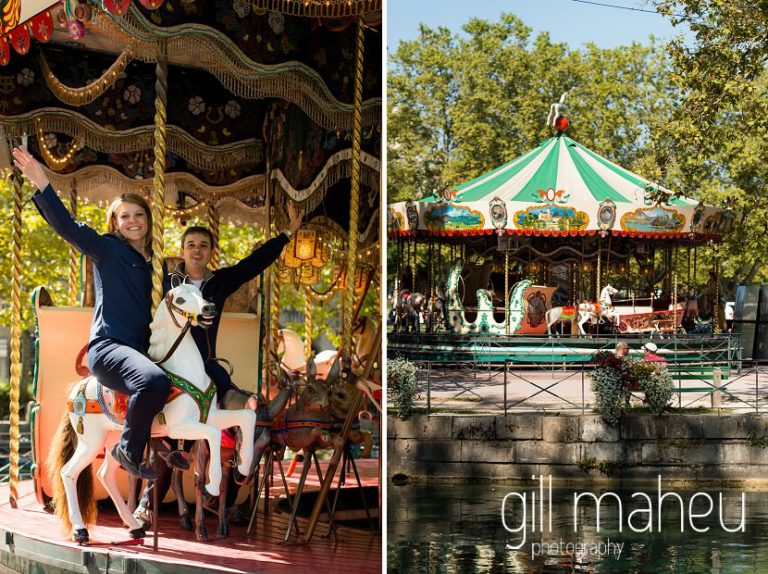 couple having fun on the merry go round on Le Paquier in lifestyle photo session in the Vielle Ville of Annecy by Gill Maheu Photography, photographe de mariage et de famille