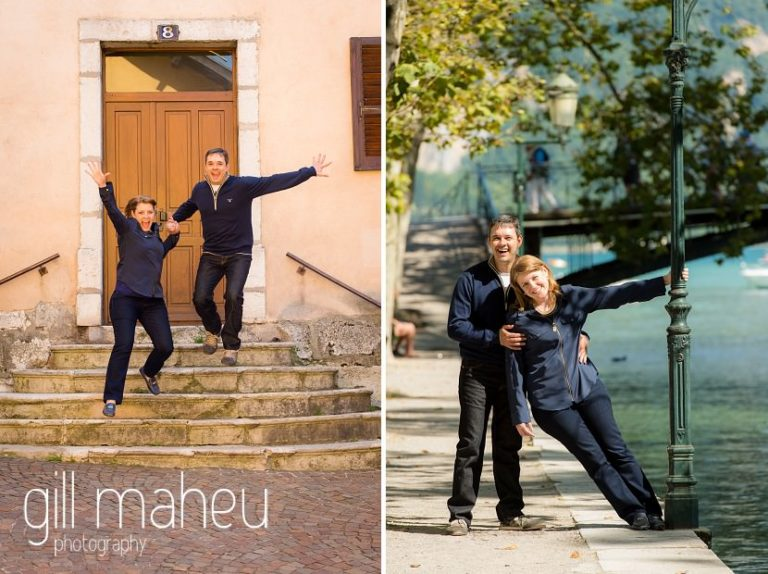 couple having fun in the streets in lifestyle photo session in the Vielle Ville of Annecy by Gill Maheu Photography, photographe de mariage et de famille