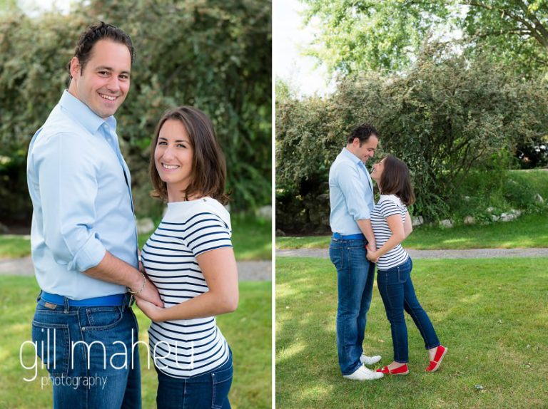 engaged couple looking at the camera in park on Divonne, Geneva engagement session by Gill Maheu Photography, photographe de mariage
