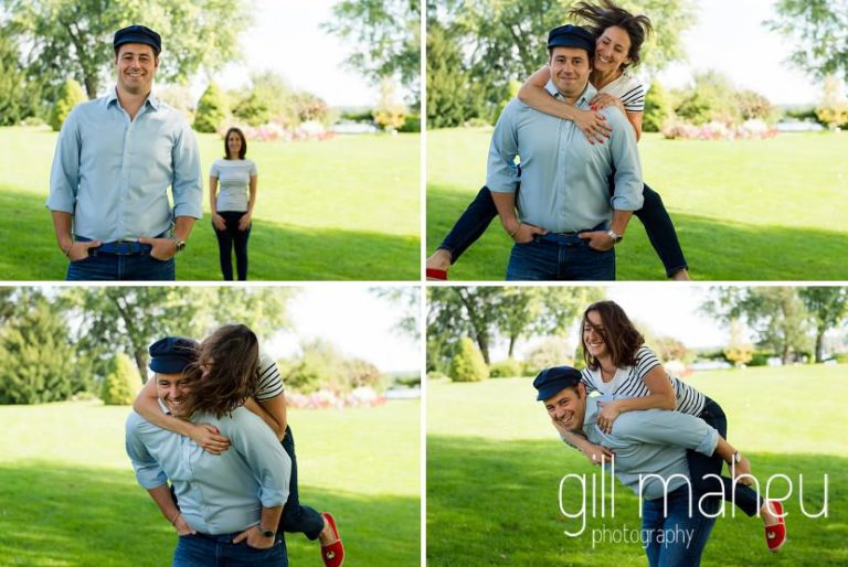 fuitrure bride and groom having fun in park on Divonne, Geneva engagement session by Gill Maheu Photography, photographe de mariage