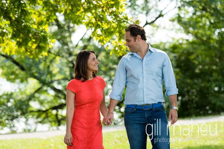 future bride and groom walking towards the camera at Divonne, Geneva engagement session by Gill Maheu Photography, photographe de mariage