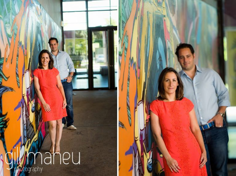 future bride leaning against graffitied wall with groom in background on Divonne, Geneva engagement session by Gill Maheu Photography, photographe de mariage