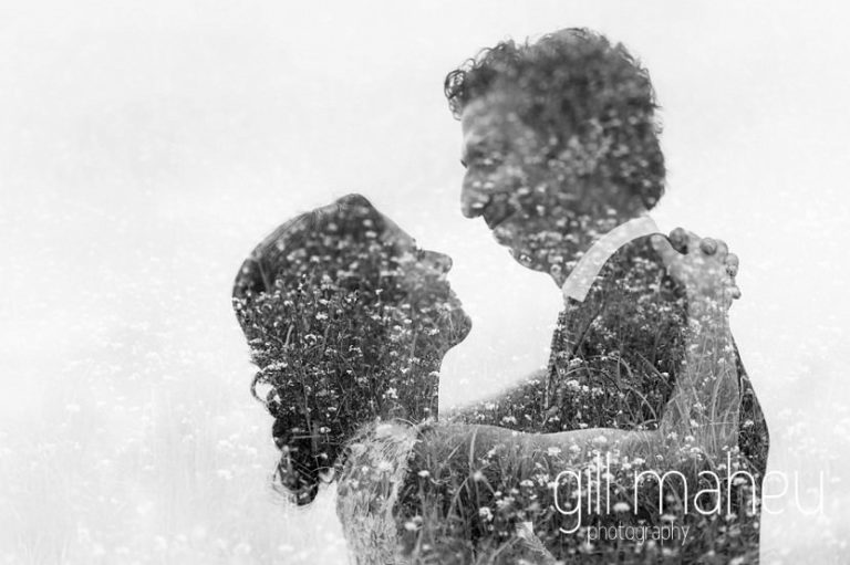 double exposure black and white portrait of bride and groom on Geneva love the dress day after session by Gill Maheu Photography, photographe de mariage