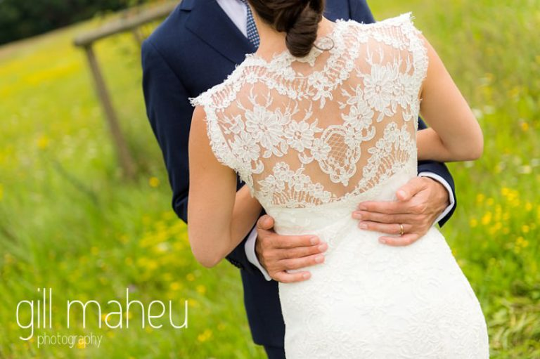 details of the back of bride's stunning Monique l'huillier lace wedding dress on Geneva love the dress day after session by Gill Maheu Photography, photographe de mariage
