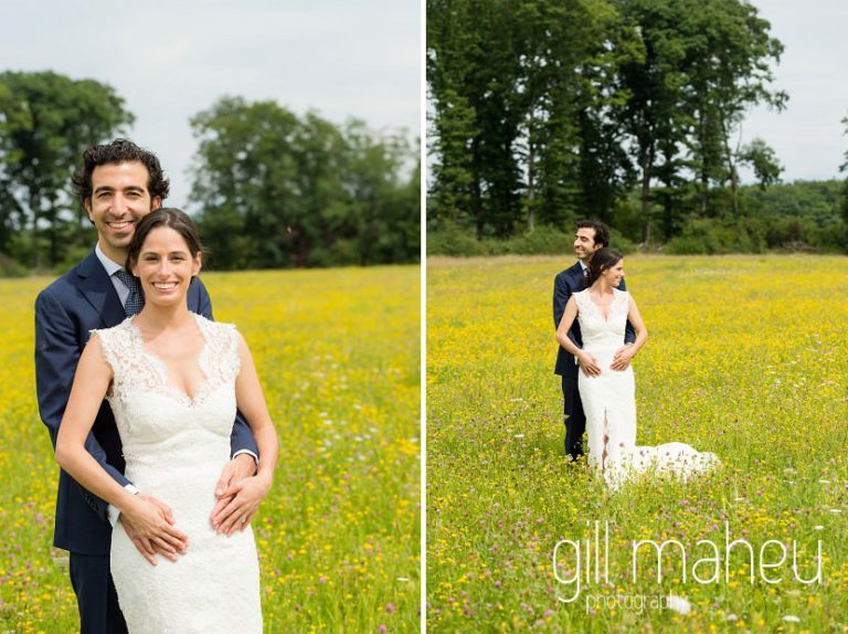 portrait of bride and groom embracing in a field of golden flowers on Geneva love the dress day after session by Gill Maheu Photography, photographe de mariage