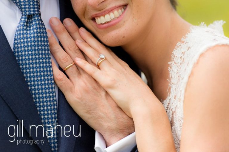 close up details of new wedding rings and huge smile on Geneva love the dress day after session by Gill Maheu Photography, photographe de mariage