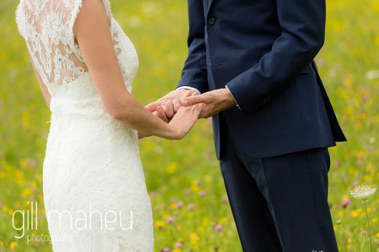 close up on bride and groom's hands by wedding photographer Gill Maheu Photography, photographe de mariage on Geneva love the dress day after session