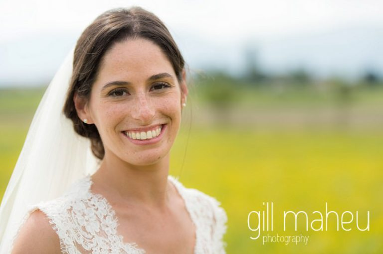 portrait of beautiful bride in Monique l'huillier lace wedding dress on Geneva love the dress day after session by Gill Maheu Photography, photographe de mariage