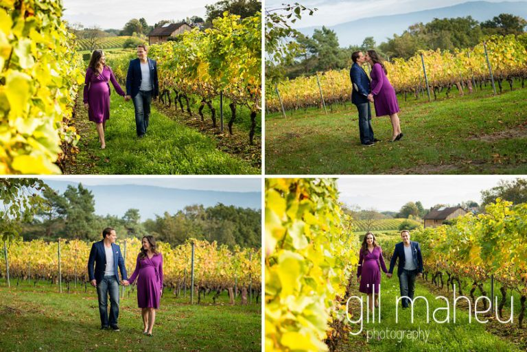 photos of future parents walking through vineyards in maternity session in Collonges, Geneva, by Gill Maheu Photography, photographe de Grossesse et lifestyle