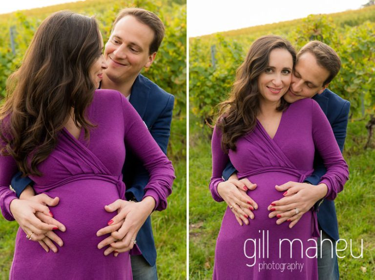 future parents embracing in maternity session in Collonges, Geneva, by Gill Maheu Photography, photographe de Grossesse et lifestyle