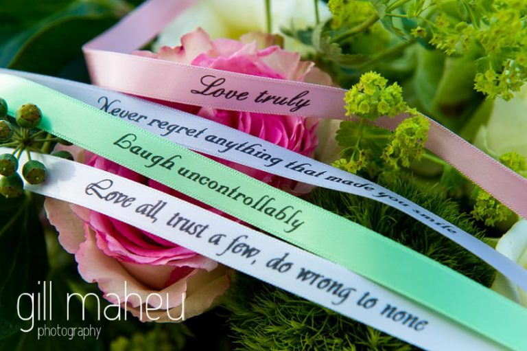 beautiful motto guest wristbands at Abbaye de Talloires, Lake Annecy wedding by Gill Maheu Photography, photographe de mariage