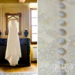 stunning wedding dress full length and button detailing in suite nuptiale Jean Reno at Abbaye de Talloires, Lake Annecy wedding by Gill Maheu Photography, photographe de mariage