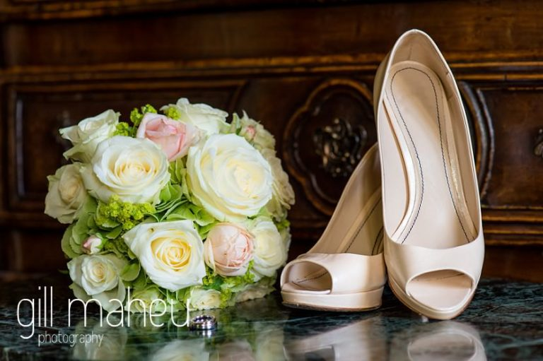 details of beautiful rose wedding bouquet and shoes at Abbaye de Talloires, Lake Annecy wedding by Gill Maheu Photography, photographe de mariage