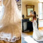 details of beautiful wedding dress at Abbaye de Talloires, Lake Annecy wedding by Gill Maheu Photography, photographe de mariage