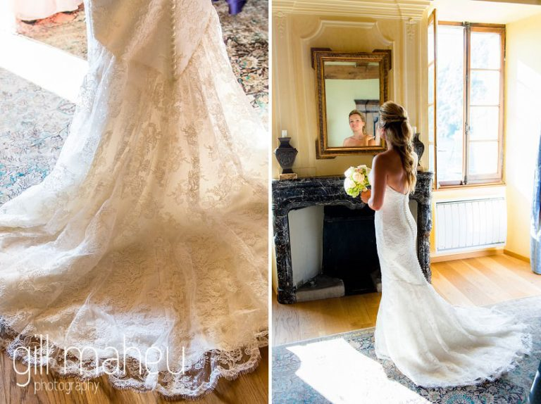 details of beautiful wedding dress at Abbaye de Talloires, Lake Annecy wedding by Gill Maheu Photography, photographe de mariage
