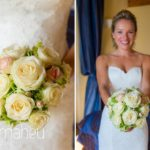 portrait of beautiful bride and her white rose wedding bouquet at Abbaye de Talloires, Lake Annecy wedding by Gill Maheu Photography, photographe de mariage