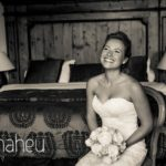 black and white portrait of bride laughing at Abbaye de Talloires, Lake Annecy wedding by Gill Maheu Photography, photographe de mariage