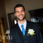 portrait of smilling groom before ceremony at Abbaye de Talloires, Lake Annecy wedding by Gill Maheu Photography, photographe de mariage