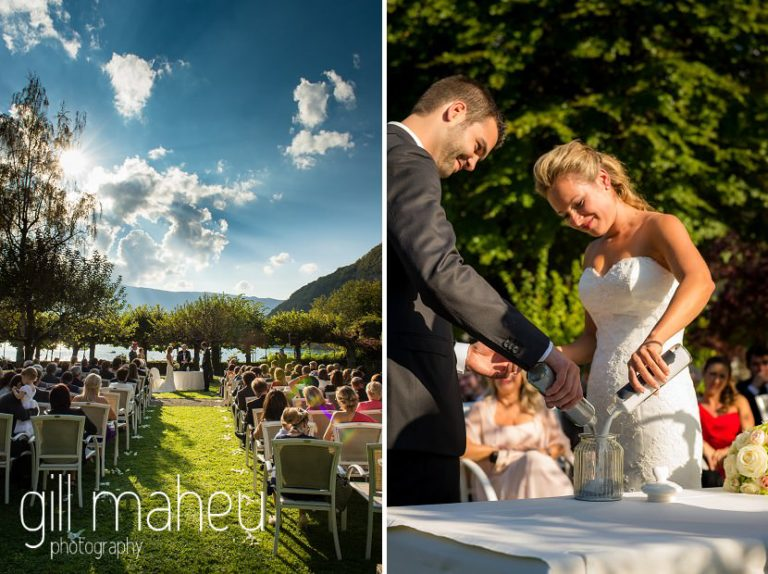 wide angle view of outdoor wedding ceremony including heart shaped cloud and close up of bride and groom mixing sand at Abbaye de Talloires, Lake Annecy wedding by Gill Maheu Photography, photographe de mariage