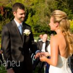bridea nd groom exchanging vows at outdoor wedding ceremony at Abbaye de Talloires, Lake Annecy wedding by Gill Maheu Photography, photographe de mariage