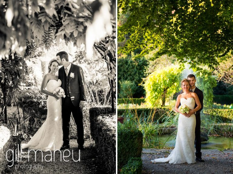portrait of wedding couple in sunlit gardens at Abbaye de Talloires, Annecy wedding by Gill Maheu Photography, photographe de mariage