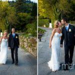 bride and groom walking along the lake shore on ponton jetty at Abbaye de Talloires, Lake Annecy wedding by Gill Maheu Photography, photographe de mariage