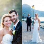 bride and groom on ponton jetty at lake side Abbaye de Talloires, Annecy wedding by Gill Maheu Photography, photographe de mariage
