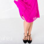 close up of skirt and shoes at bright coloured natural relaxed headshot and branding photography session in white studio for young woman entrepreneur by Gill Maheu Photography, photographe de headshot et portrait