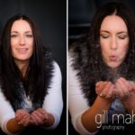 playing with glitter at natural relaxed headshot and branding photography studio session for young woman entrepreneur by Gill Maheu Photography, photographe de headshot et portrait