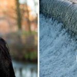 beautiful portrait of young woman entrepreneur in front of river weir in natural light relaxed outdoor headshot and branding photography session by Gill Maheu Photography, photographe de headshot et portrait