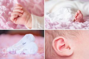 close up of adorable baby in new baby new family portrait session in Geneva by Gill Maheu Photography, photographe de bébé et famille