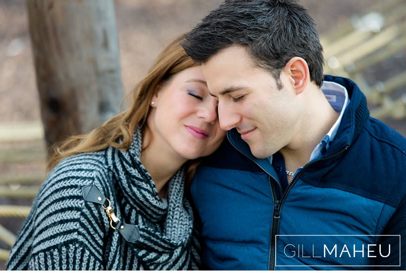 engaged couple laughing head to head at Lausanne, Lake Geneva engagement session by Gill Maheu Photography, photographe de mariage