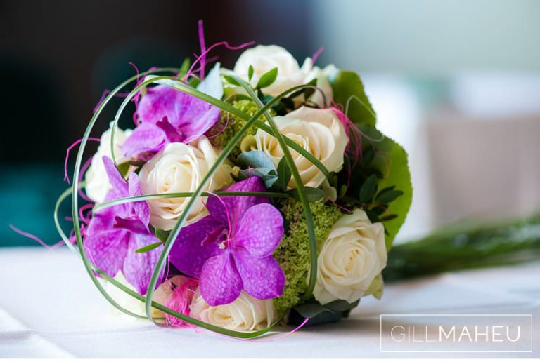 wedding details of orchid and rose wedding bouquet at Lausanne wedding by Gill Maheu Photography, photographe de mariage