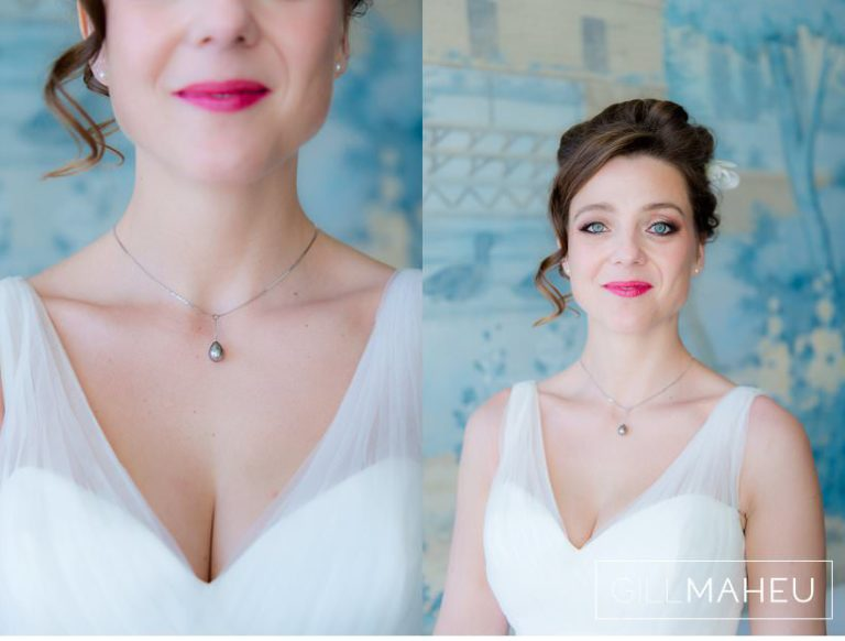 close up portraits of incredibly stylish bride and details of her dress at Lausanne wedding by Gill Maheu Photography, photographe de mariage