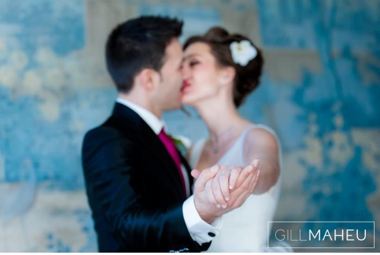 portrait of bride and groom kissing at Lausanne wedding by Gill Maheu Photography, photographe de mariage