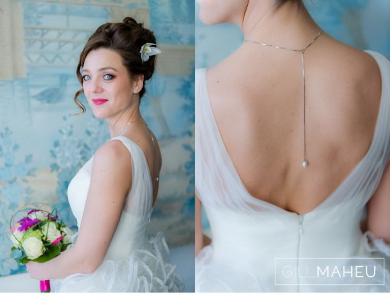 close up portraits of incredibly stylish bride and details of back of her dress at Lausanne wedding by Gill Maheu Photography, photographe de mariage