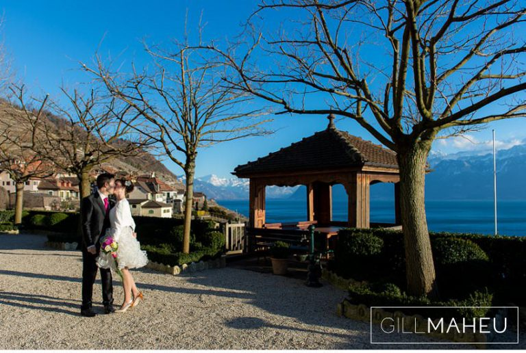 portrait of bride and groom outside in spring sunshine at Lausanne wedding by Gill Maheu Photography, photographe de mariage