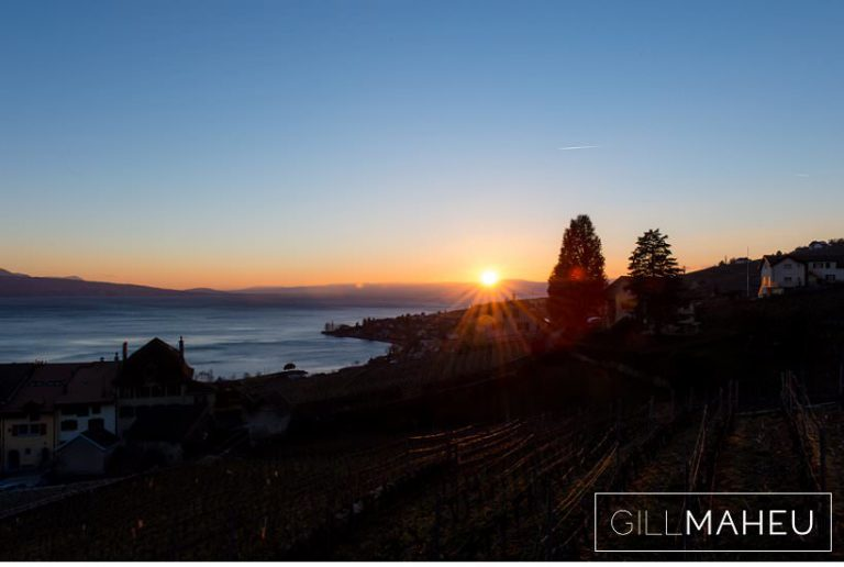 view of sunset towards Geneva over Lac Léman at Lausanne wedding by Gill Maheu Photography, photographe de mariage