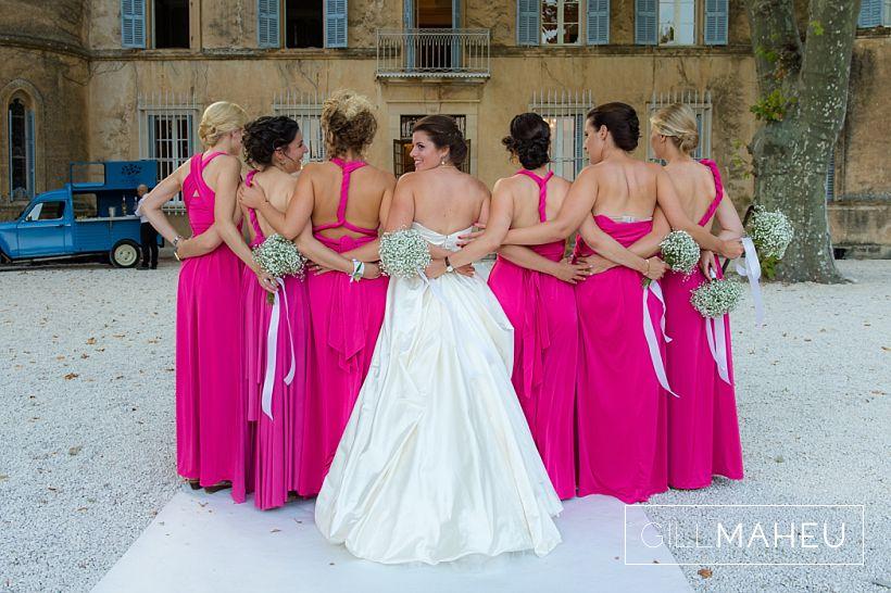 back detail group shot of bride and bridesmaids