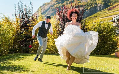 preview – glorious autumn sunshine wedding – Valais – F&R