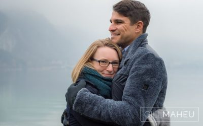 happy freezing cold engagement shoot lake annecy december 2016